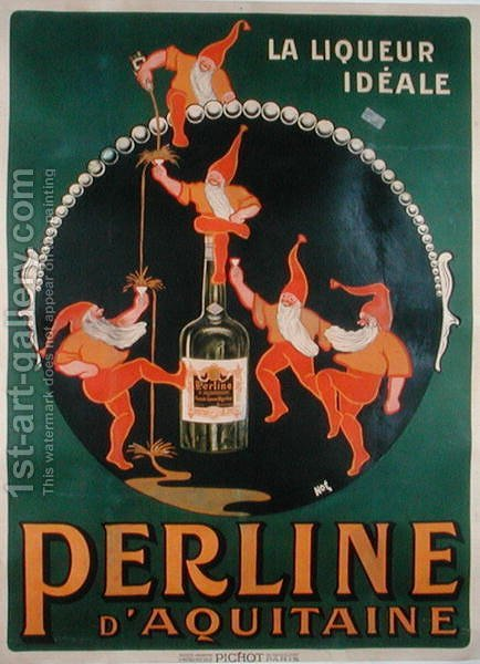 Poster advertising 'Perline d'Aquitaine' French liqueur by Amedee Charles Henri de Noe (Cham) - Reproduction Oil Painting