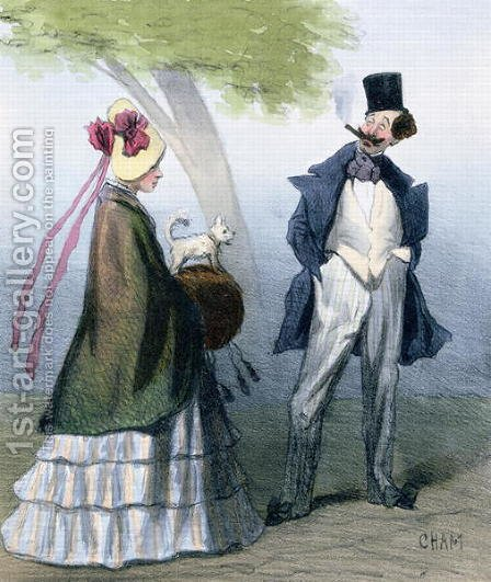 Amedee Charles Henri de Noe (Cham): 'We gentlemen all love virtuous maidens', caricature depicting a bounder or cad admiring a pretty girl - reproduction oil painting