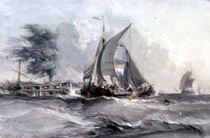 Famous paintings of Harbors & Ports: A Windy Day: Boats in a Gale