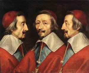 Famous paintings of Men: Triple Portrait of the Head of Richelieu, 1642
