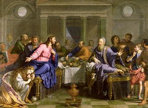 Famous paintings of Furniture: Christ in the House of Simon the Pharisee, c.1656