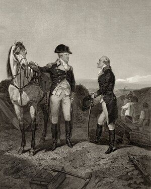 Famous paintings of Men: First meeting of George Washington and Alexander Hamilton, from 'Life and Times of Washington', Volume I, 1857