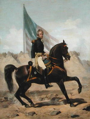 Famous paintings of Horses & Horse Riding: General Andrew Jackson at the Battle of New Orleans