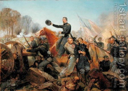 Battle of the Wilderness, Attack at Spotsylvania Court House, Virginia, 1865 by Alonzo Chappel - Reproduction Oil Painting