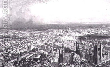 Bird's Eye View of London from Westminster Abbey, c.1840 by Henri Michel Antoine Chapu - Reproduction Oil Painting