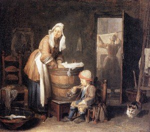 Rococo painting reproductions: The Laundry Woman 2