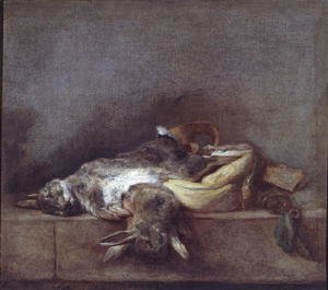 Rococo painting reproductions: Still Life with Rabbits, a Gamebag and a Powder Horn, c.1755