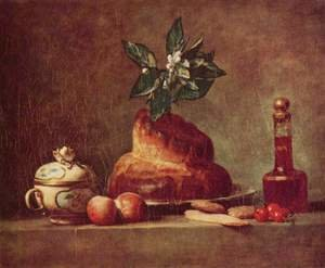 Famous paintings of Desserts: The Brioche or The Dessert, 1763