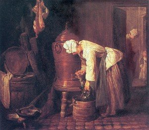 Rococo painting reproductions: Woman Drawing Water from a Copper Cistern