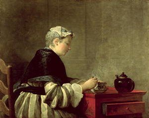 Famous paintings of Tea: A Lady Taking Tea, 1735