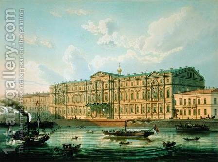 Palace of Grand Duke Mikhail and Palace Embankment, 1850s by J. Charlemagne - Reproduction Oil Painting