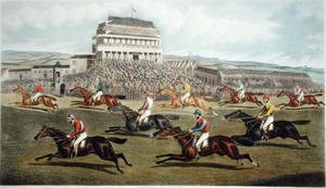 Famous paintings of Sport and Games: The Liverpool Grand National Steeplechase - Coming In, published 1872