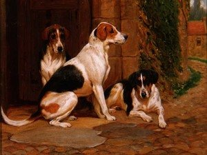 Neo-Classical painting reproductions: Foxhounds, 1902