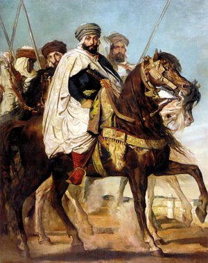 Famous paintings of Knights & Warriors: Ali Ben Ahmed, the Last Caliph of Constantine, with his Entourage outside Constantine, 1845