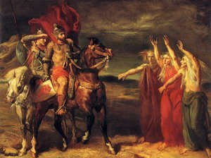 Famous paintings of Knights & Warriors: Macbeth and the Three Witches, 1855