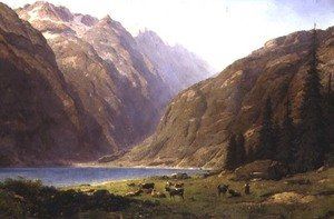 Naturalism painting reproductions: A Mountainous Landscape with Cattle