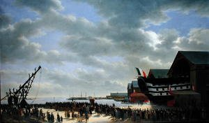 Famous paintings of Harbors & Ports: The Launch of 'Le Friedland' at Cherbourg, 4th April 1840, c.1840-54