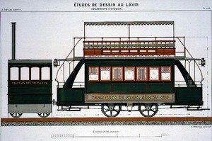 Famous paintings of Trams: Design for a Steam Tram, plate 126 from 'The Industrial Practitioner'