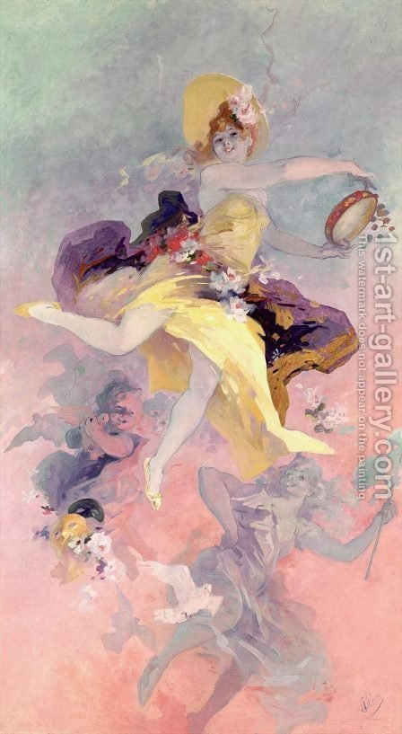 Jules Cheret: Dancer with a Basque Tambourine - reproduction oil painting