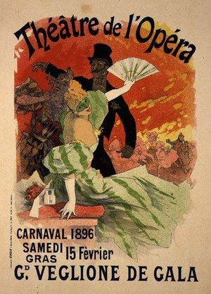 Famous paintings of Fans: Reproduction of a Poster Advertising the 1896 Carnival at the Theatre de l'Opera, 15th February 1896