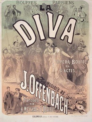 Famous paintings of Knights & Warriors: Poster advertising 'La Diva', opera bouffe with music