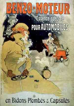 Famous paintings of Cars: Poster advertising 'Benzo-Moteur' Motor Oil Especially for Automobiles, 1901