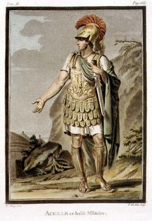 Famous paintings of Knights & Warriors: Achilles in Armour, costume for 'Iphigenia in Aulis', from Volume II of 'Research on the Costumes and Theatre of All Nations'