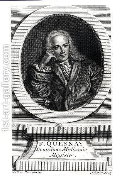Portrait of Francois Quesnay (1694-1774) by J. Chevallier - Reproduction Oil Painting