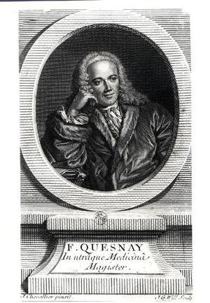 J. Chevallier reproductions - Portrait of Francois Quesnay (1694-1774)