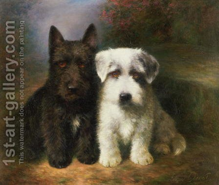 Lilian Cheviot: A Scottish and a Sealyham Terrier - reproduction oil painting