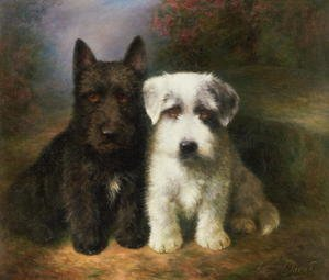 Naturalism painting reproductions: A Scottish and a Sealyham Terrier