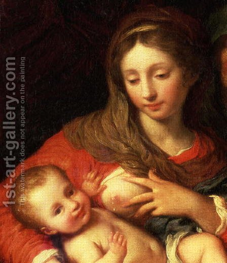 The Holy Family with Elizabeth (detail) by Giuseppe Chiari - Reproduction Oil Painting