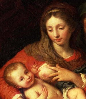 Giuseppe Chiari reproductions - The Holy Family with Elizabeth (detail)