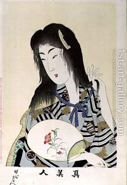 Huge version of 1973-22c Shin Bijin (True Beauties) depicting a woman with a fan, from a series of 36, modelled on an earlier