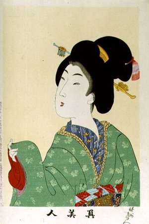 1973-22c Shin Bijin (True Beauties) depicting a woman in a green floral kimono, from a series of 36, modelled on an earlier series