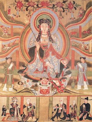 Famous paintings of Buddhism: Buddhist banner depicting Dizang and the Six Roads to Rebirth, from Dunhuang