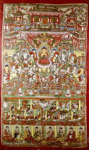 Famous paintings of Buddhism: Paradise of Amitabha, from Dunhuang, Gansu Province