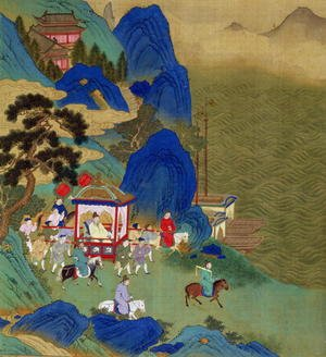 Reproduction oil paintings - Anonymous Artist - Emperor Ch'in Wang Ti (221-206 BC) travelling in a palanquin, from a history of Chinese emperors