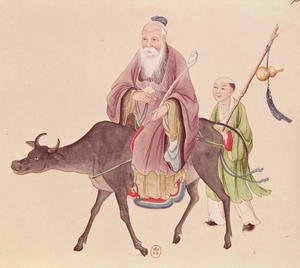 Lao-Tzu (c.604-531) on his buffalo, followed by a disciple