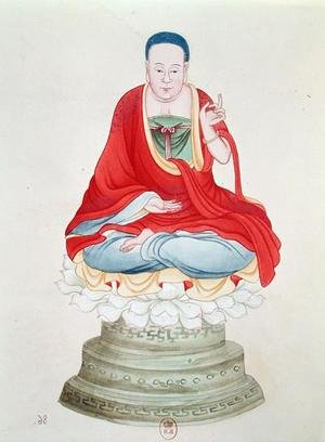 Famous paintings of Buddhism: Buddha seated on a lotus flower