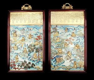 Famous paintings of Buddhism: Pair of plaques depicting buddhist figures in a Chinese landscape, Qianlong period, 1736-95