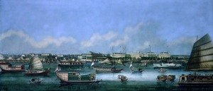 Reproduction oil paintings - Anonymous Artist - View of the Waterfront at Canton, c.1855