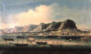 Famous paintings of Harbors & Ports: View of Hong Kong, with a Prison Hulk and a Paddlesteamer in the Harbour