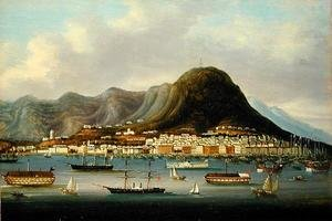 Famous paintings of Clouds & Skyscapes: A View of Hong Kong