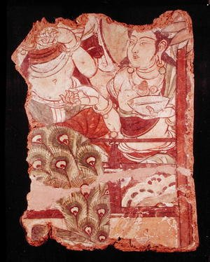 Famous paintings of Buddhism: Fragment depicting a Buddhist paradise, from Duldur-Aqur, Xinjiang, c.700 AD