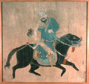 Famous paintings of Knights & Warriors: Mongol archer on horseback, from seals of the Emperor Ch'ien Lung and others, 15th-16th century