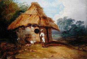 Famous paintings of Knights & Warriors: View in Southern India, with a Warrior Outside his Hut, c.1815