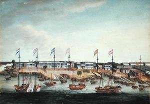 Famous paintings of Harbors & Ports: The Hongs at Canton, before 1820