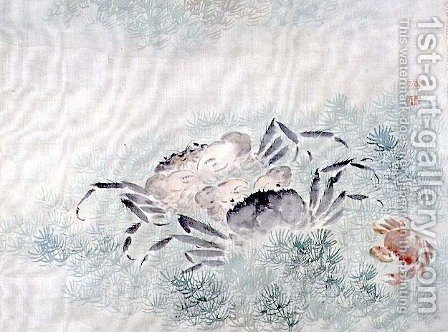 Crabs, from an album of twelve studies of flowers, birds and fish by Tsubaki Chinzan - Reproduction Oil Painting
