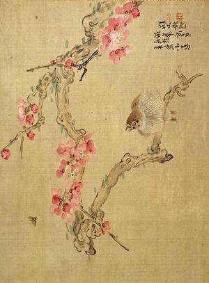 Naturalism painting reproductions: Tree blossom and bird, from an album of twelve studies of flowers, birds and fish